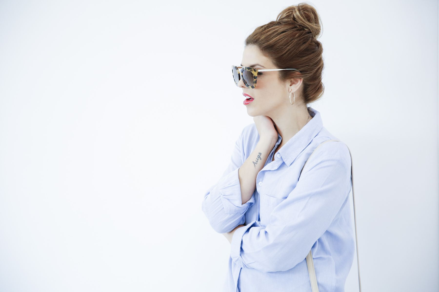 outfit look primavera spring camisa oxford zara calzedonia Yves saint laurent bolso bag prada sunglasses verona street style trendy taste_5