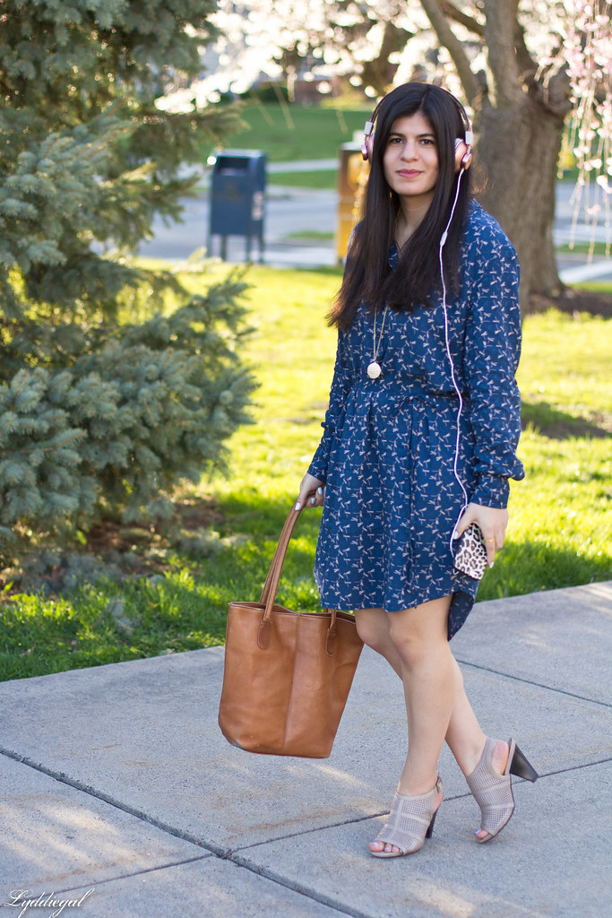 dragonfly dress, brown tote, mules, marley headphones.jpg