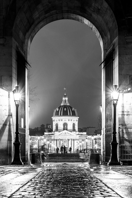 Institut de France on a rainy night