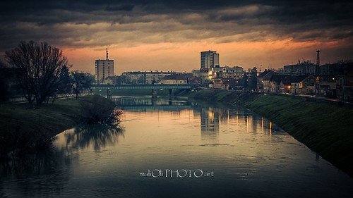 street city bridge sky urban reflection building water clouds canon river town twilight europe place croatia hdr kupa hrvatska karlovac