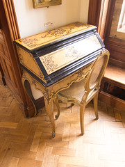 Antique yellow writing desk
