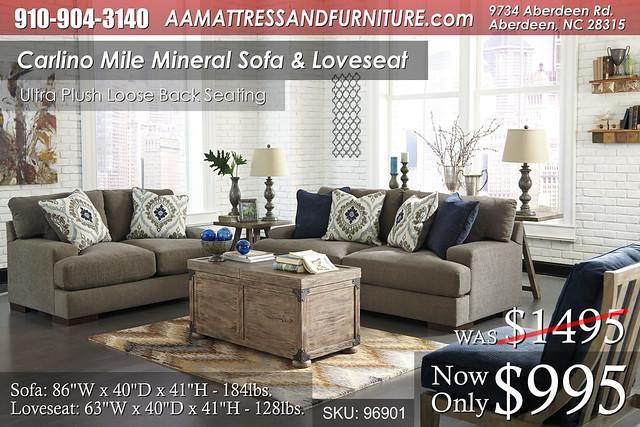 Carlino Mile Mineral Sofa and Love WM
