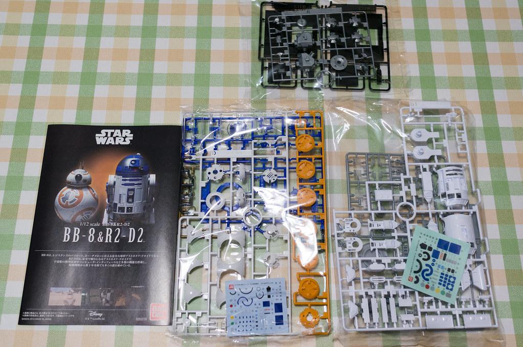スターウォーズ 1/12 BB-8&R2-D2 [プラモデル] 、内容物一覧