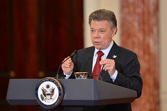 Colombian President Juan Manuel Santos delivers remarks during a joint news conference with U.S. Secretary of State John Kerry at the U.S. Department of State in Washington, D.C., on February 5, 2016. [State Department photo/ Public Domain]