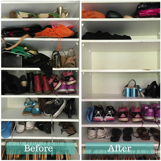 1 Before and after simplify wardrobe - shoes