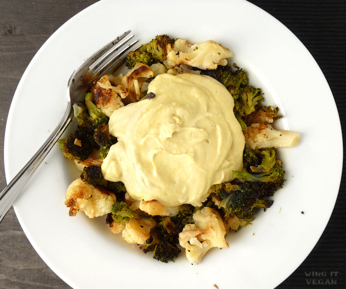 Roasted Broccoli and Cauliflower with Saucy Nooch