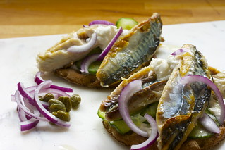 Mackerel on rye with the works