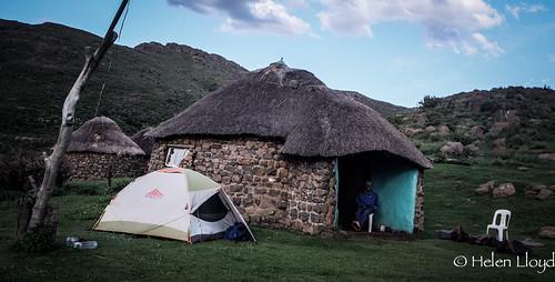 Camping beside village hut
