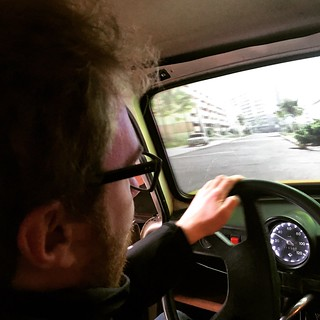 Driving a Trabant at the DDR Museum