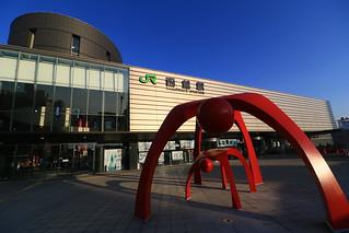朝日に輝く函館駅