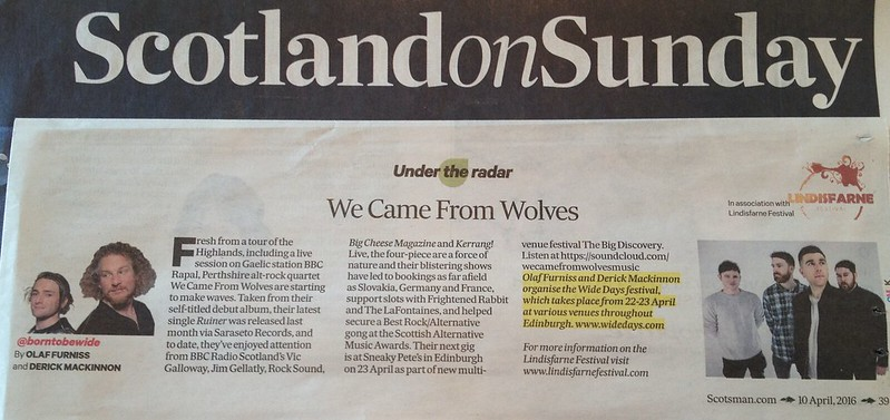 Olaf Furniss and Derick Mackinnon, Scotland On Sunday, 10 April, We Came From Wolves