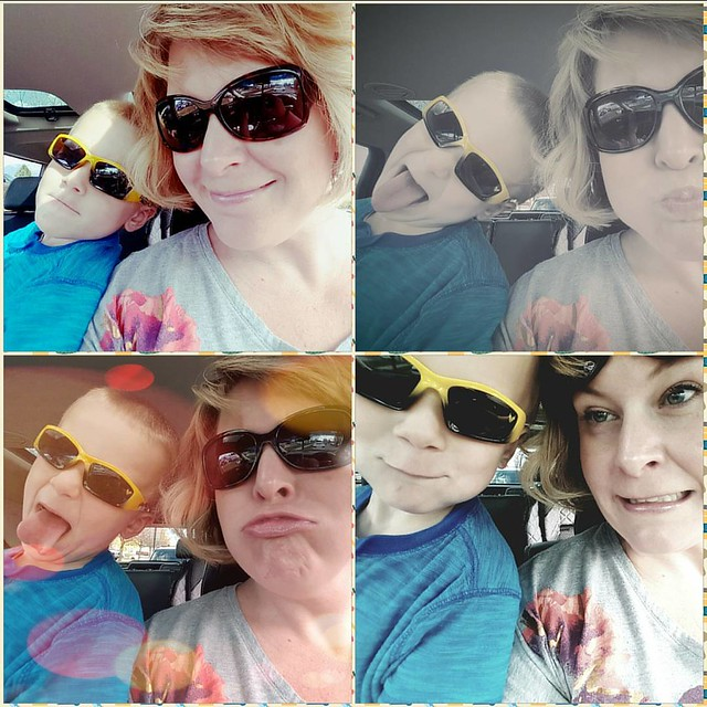 Car selfies.  They are all the rage when trying to keep a 3 year old patiently waiting in the car.