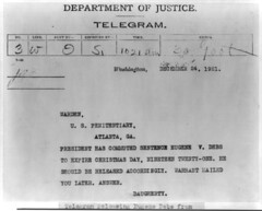 Eugene Debs clemency telegram: 1921