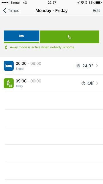 tado iOS App - Smart Schedule - Times