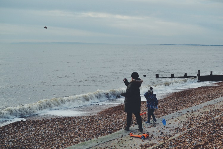 beach stone skipping