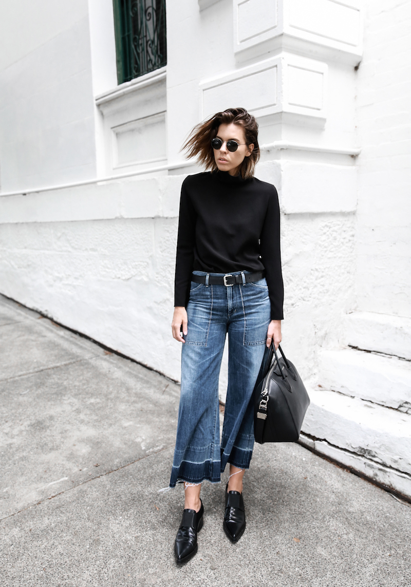 denim wide leg jeans street style Citizens of Humanity Melanie Givenchy Antigona medium street style inspo Stella McCartney loafers minimal Ellery flare sleeve top modern legacy fashion blogger  (1 of 1)