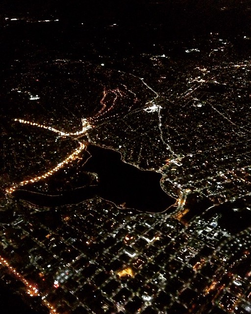 Caught a view of #LakeMerritt from above the other night. Is it me, or is the lake in the shape of a cat? #Oakland