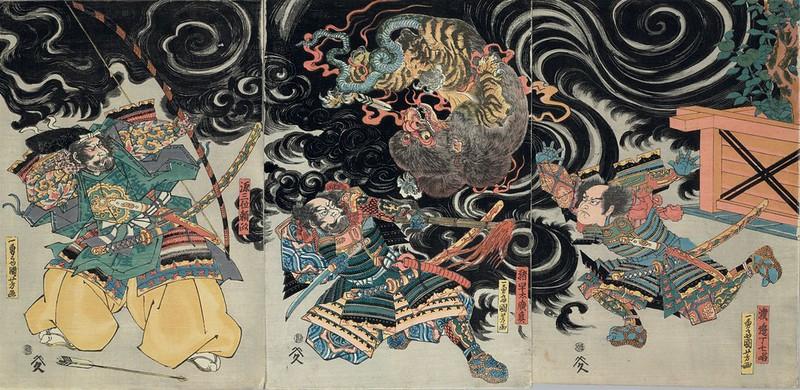 Utagawa Kuniyoshi - Minamoto no Yorimasa slaying the monster Nue, 19th C