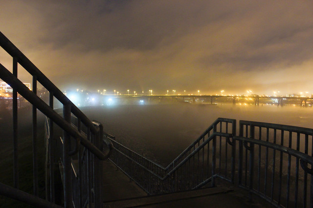 Foggy Night on the Floodwall