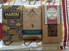 tasting : marou vietnamese tien giang 70%, fijiana cacao christmas island sea salt nib & marlieu fruit tablette❤︎ #chocolate #marou #fijiana #marlieu #osaka #japan