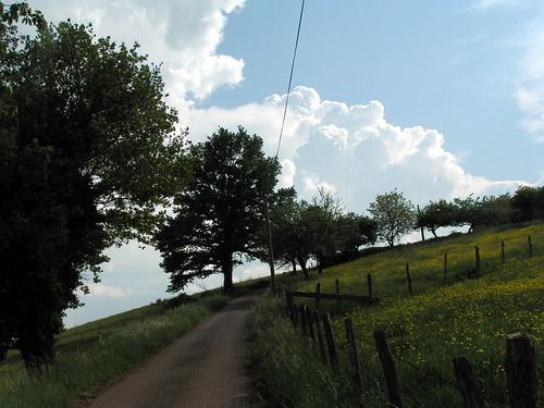 20080511 20909 0901 Jakobus Weg Wolken Bäume weiß blau