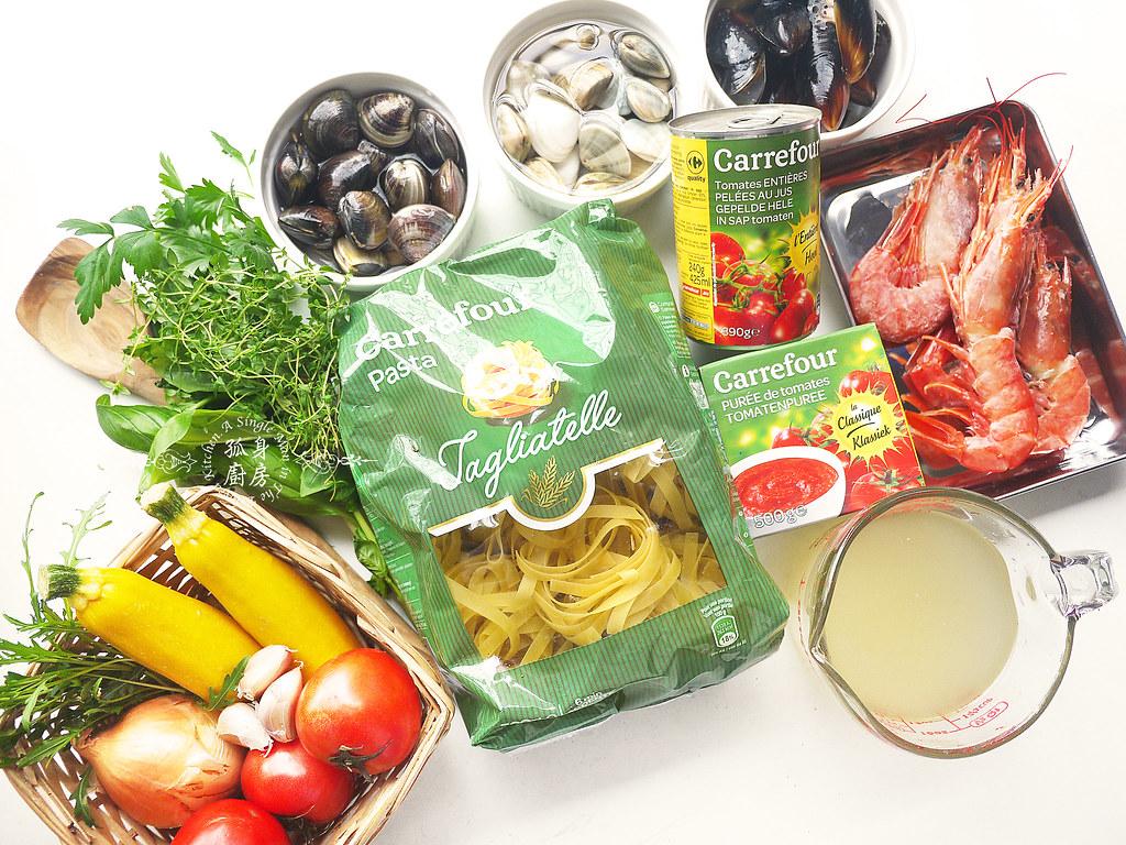 孤身廚房-寶迪鍋一鍋到底茄汁綜合貝類義大利麵佐烤天使紅蝦與櫛瓜2