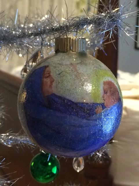 decopage ornament / blue nativity