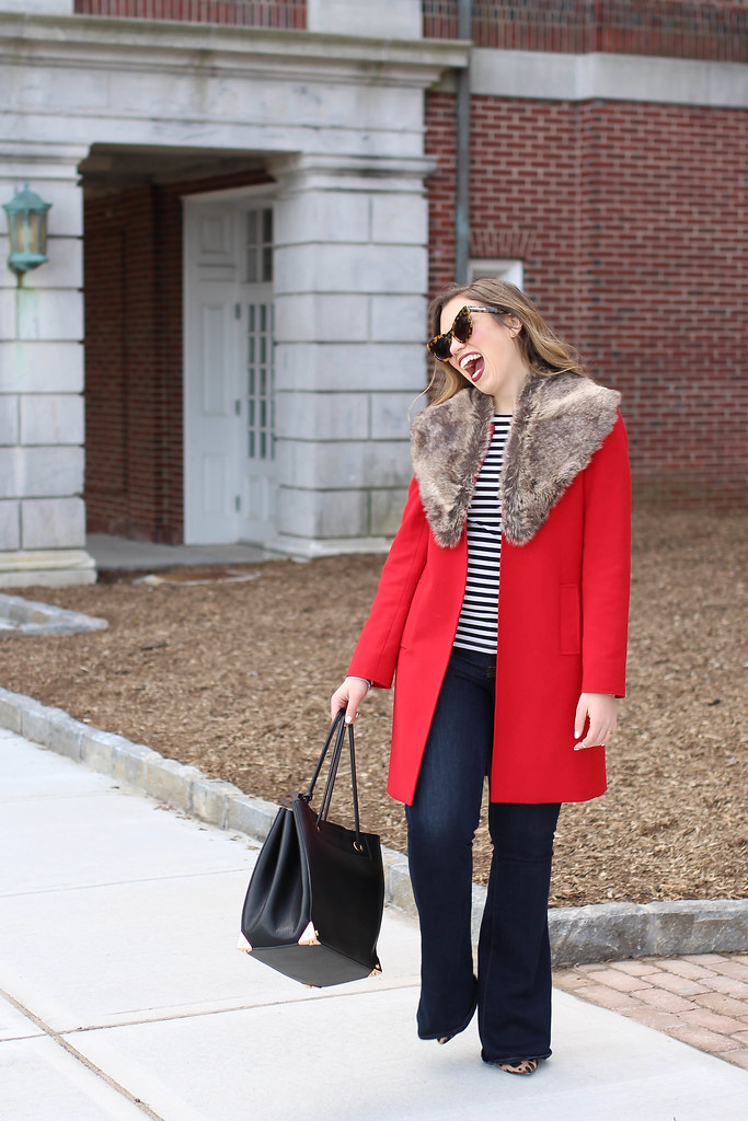 Red Coat | Fur Collar | Flar Jeans | Striped Shirt | Early Spring Late Winter Outfit