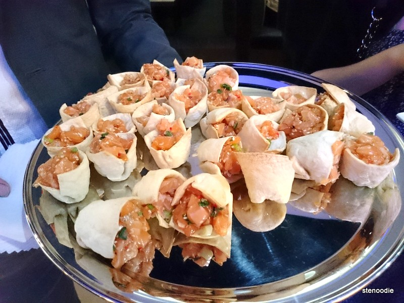 Platter of smoked salmon cups