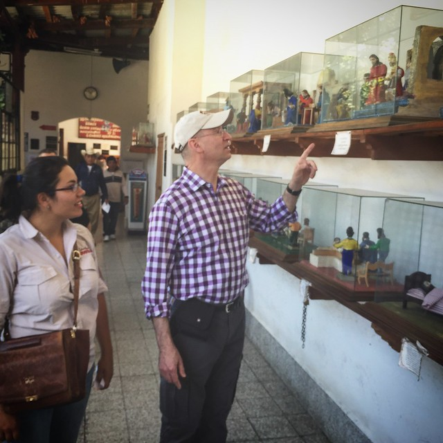 David and our guide, Kathy, discuss the display of The Ten Commandments in the local hospital.
