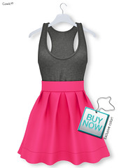 Exclusive for BUY NOW - MAY | Gawk! Lipstick Pink Smart Casual Tank Dress (Mesh)