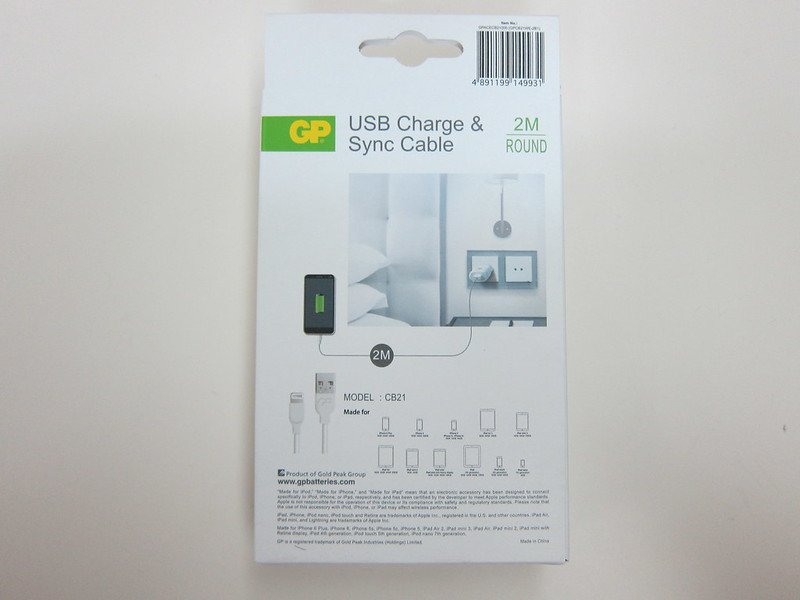 GP Charge & Sync Lightning USB Cable - Box Back