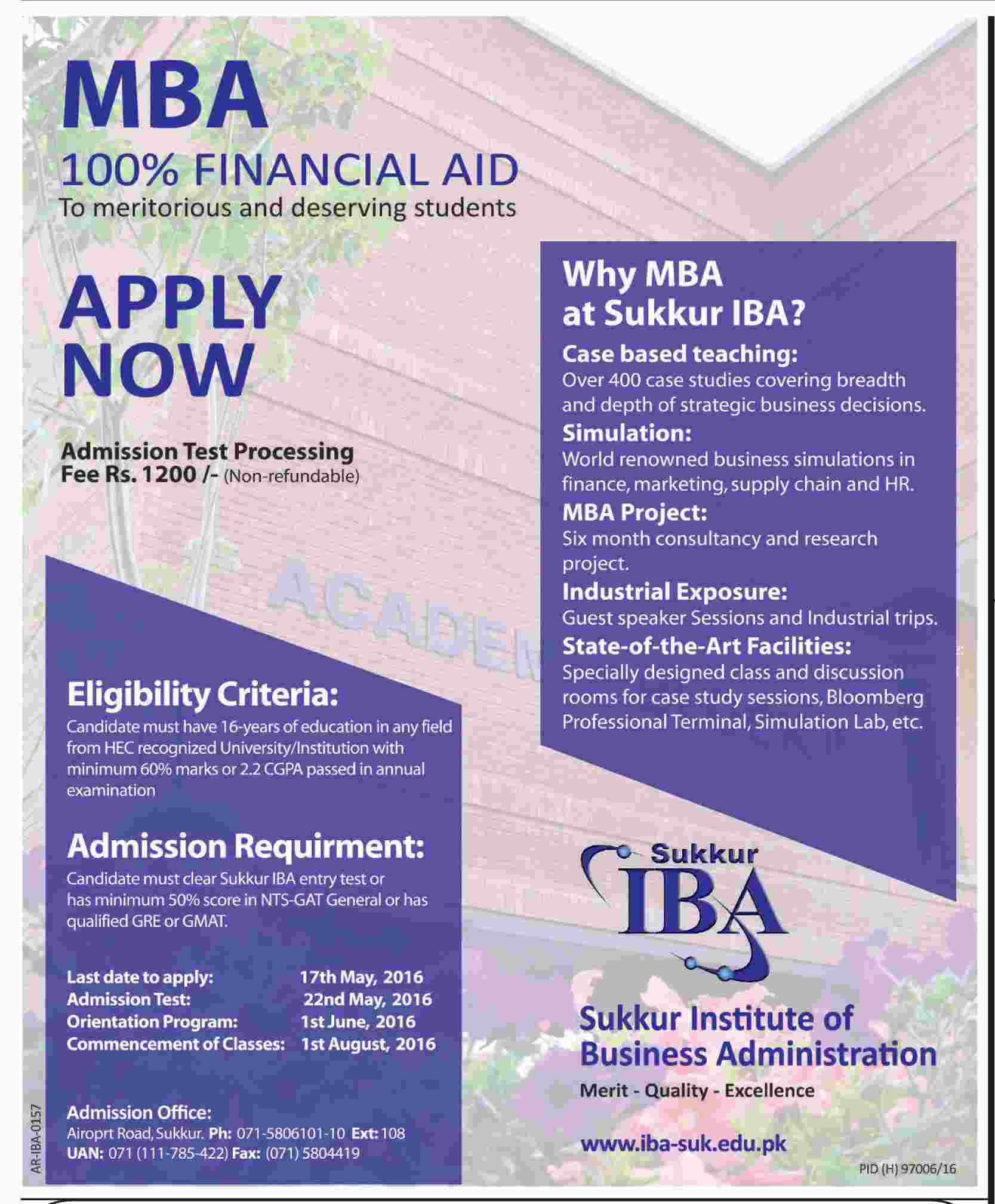 IBA Sukkar MBA Scholarships