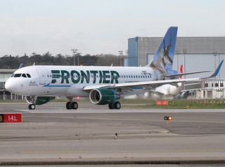 "Frontier Airlines.The new livery for Airbus A320 with Frontier Airlines on drifting animal ""GARRIGOU""."