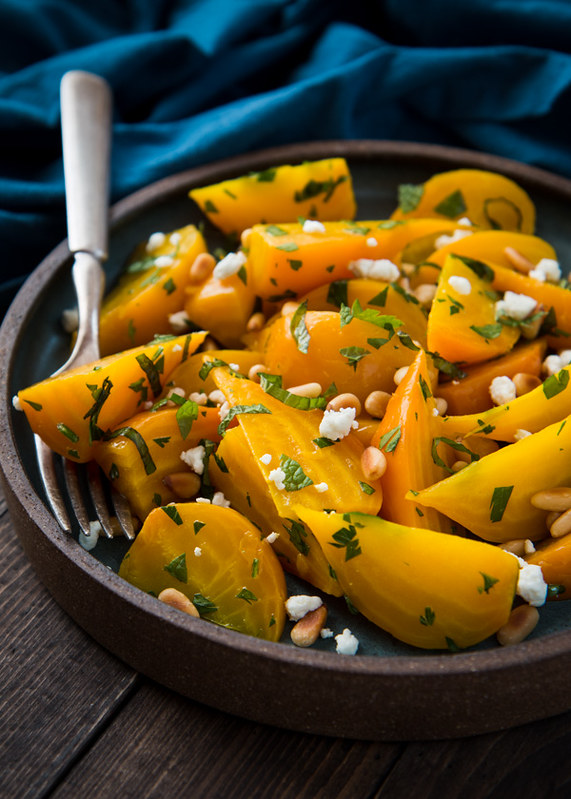 Golden Beet Salad with Pine Nuts and Goat Cheese