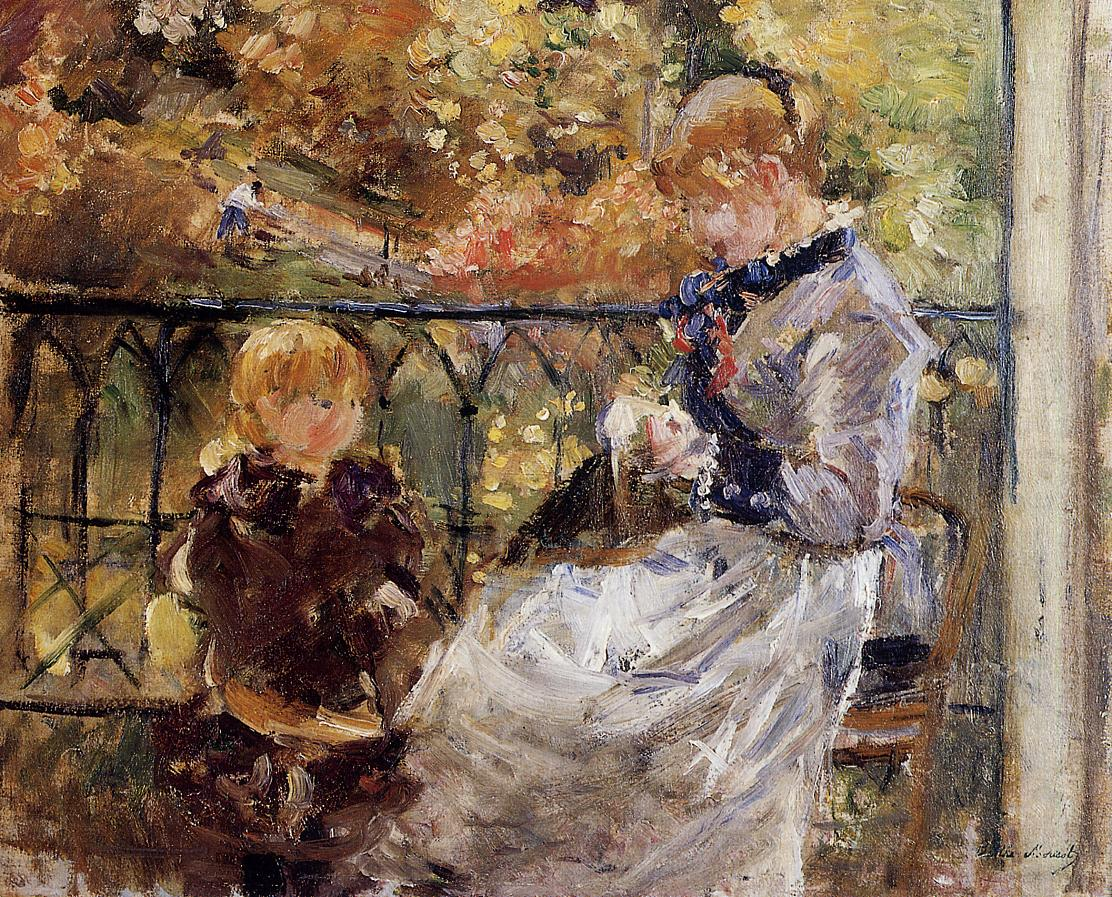 On the Balcony of Eugene Manet's Room at Bougival by Berthe Morisot, 1881