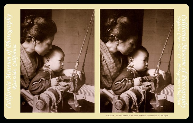MOTHER AND CHILD AT THE LOOM -- A  3-D Portrait from OLD JAPAN