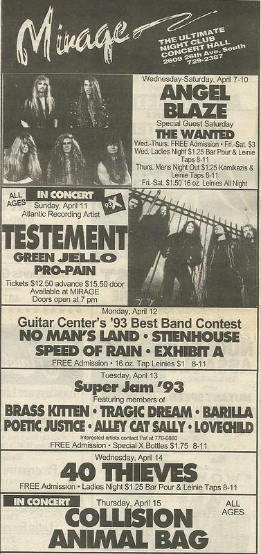 04/11/93 Testament/ Green Jello/ Pro-Pain @ Mirage, Minneapolis, MN
