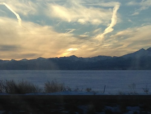 Sunset over the Rockies. Near Ft. Collins, Colorado. January 2, 2016.