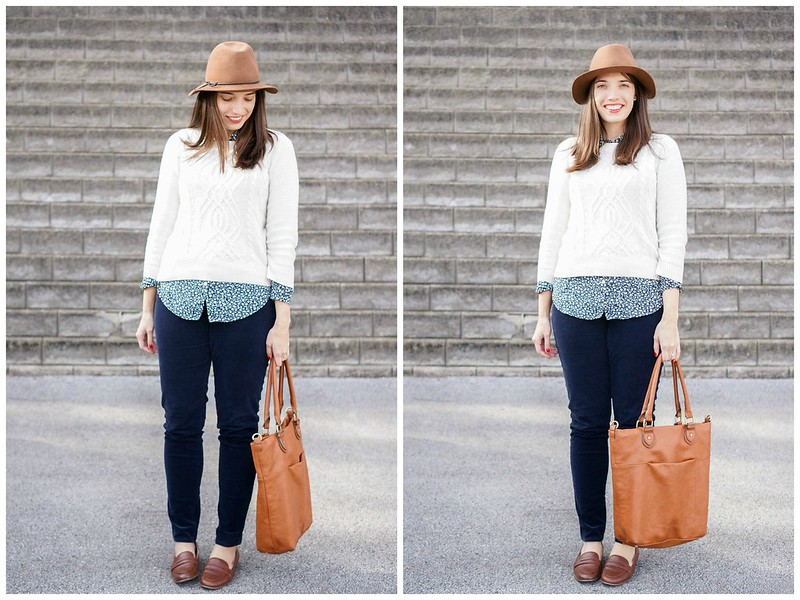 Loft cords + cable knit sweater Target + brown felt fedora hat + vine print Loft shirt; Style On Target blog