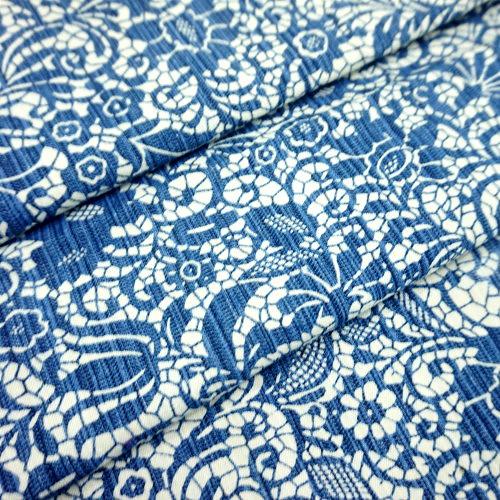 CE990011  刷藍花朵拓印 5尺
