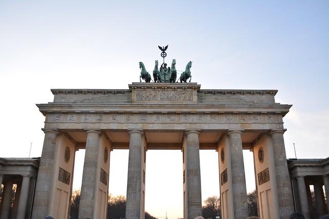 The Brandenberg Gate, or Brandenburger Tor, in Berlin, Germany.