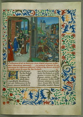 Jean de Wavrin, Les Chroniques d'Angleterre (Vol. 4), Order to release Douglas being received by Thomas Percy of Northumberland; Thomas Percy being struck by Henry IV at Battle of Shrewsbury, Walters Manuscript W.201, fol. 283r