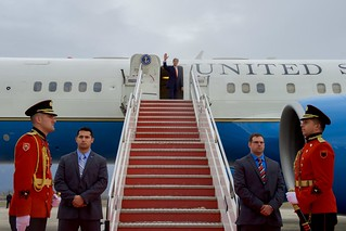 Secretary Kerry Waves Goodbye As He Prepares To Depart Tirana, Albania