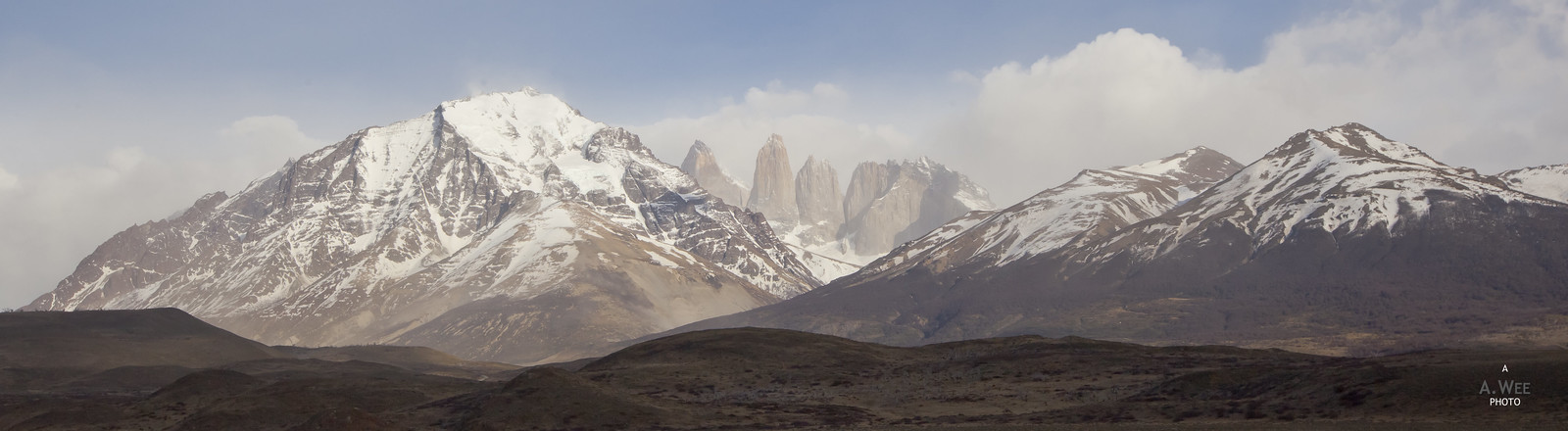 Panorama of Cordillera Paine with the Torres