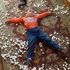 I get Lush bath bombs, and G makes snow angels out of the packing peanuts. #graysongram #canthelpbutlaugh
