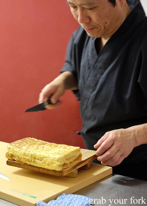 Tamagoyaki omelette block at Sashimi Shinsengumi, Crows Nest