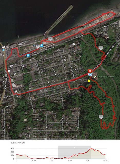 Today's awesome walk, 4.75 miles in 1:52, 10,224 steps, 440ft gain