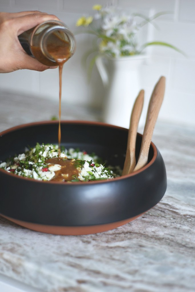Minty Cauliflower Salad + Chili Roasted Tofu