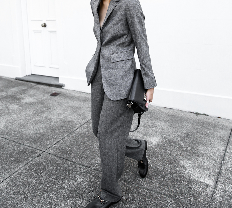 all grey suit Gucci horsebit loafer Proenza Schouler PS11 street style fashion blogger modern legacy Witchery  (2 of 11)